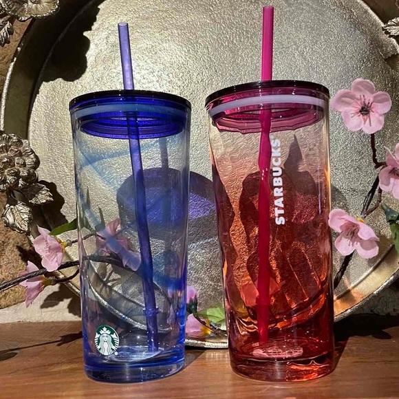 Starbucks Blue Purple Pink Glass Tumblers